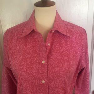 Lands End Pink Paisley Cotton Blouse. Size 12